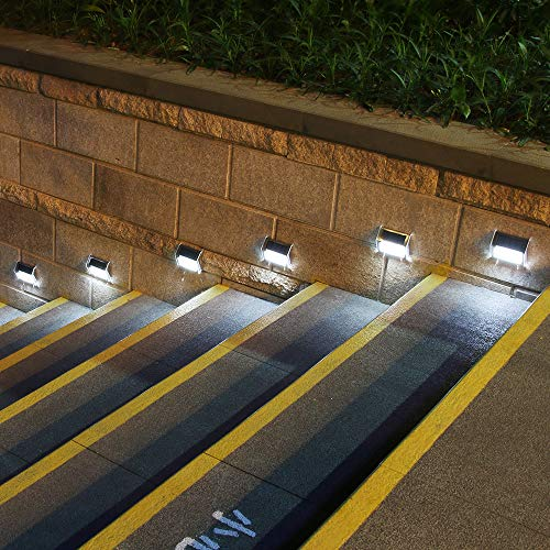 [Upgraded 3 LED] HKYH Newest 6 Pack 3 LED Solar Bright Step Light Stairs Pathway Deck Garden Lam ...