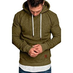 Hoodies for Men Pervobs Men's Long Sleeve Autumn Solid Pocket Loose Casual Sweatshirt Hood ...