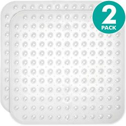 Sierra Concepts 2-Pack Clear Color Square Shower, Bathtub, Bath and Tub Mat (21×21), Machin ...