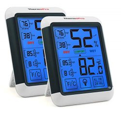 ThermoPro TP55 2 Pieces Digital Hygrometer Indoor Thermometer Humidity Gauge with Jumbo Touchscr ...