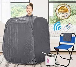 Himimi 2L Foldable Steam Sauna Portable Indoor Home Spa Weight Loss Detox with Chair Remote (Gra ...