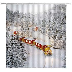Xmas Shower Curtain Decor Vintage Steam Train Driving in Forest Railway Track Snow Covered Pine  ...