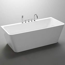 Empava Acrylic Freestanding Bathtub 67 in Contemporary Soaking Tub with Overflow and Drain White