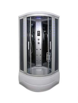 Kokss Y8004-A Corner Shower Room with Glass Sliding Doors and Base Includes Massage Jets, Radio, ...