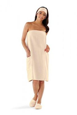 Boca Terry Womens Spa Wrap – 100% Cotton Spa, Shower, Bath and Gym Towel w Snaps – E ...