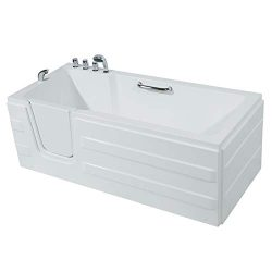Mecor Walk-in Whirlpool Bathtub, Rectangular Soaking Bathtub,Left Intward Opening Door and Left ...