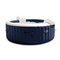 Intex PureSpa Plus Round 6 Person Portable Inflatable Hot Tub Spa 85-Inch x 25-Inch with 170 Bub ...