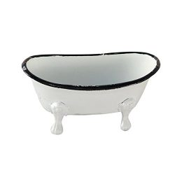Foreside Home & Garden Foreside Mini Enamel Bathtub Soap Dish, Black