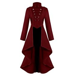 Halloween Costumes for Women,Ladies Gothic Steampunk Button Lace Corset Coat Tailcoat Jacket Wai ...