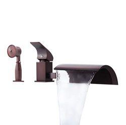 JinYuZe New ORB Roman Tub Filler Faucet 3-hole Deck Mount Waterfall Bathroom Bathtub Mixer Fauce ...