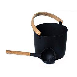 IMCROWN Sauna Bucket,7L Luxurious Finnish Sauna Aluminum Bucket with Long Handle Spoon Set Match ...