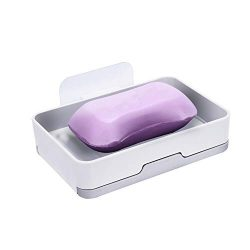 Vyriloner Soap Holder, Adhesive Wall Mounted Soap Dish Container Leak Proof Self Draining Soap B ...