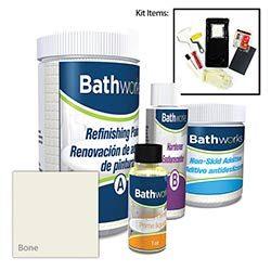 Bathworks DIY Bathtub & Tile Refinishing Kit w/Non-Slip Protection (BONE); 22 oz; Tub; Tile; ...