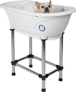 Flying Pig Pet Dog Cat Washing Shower Grooming Portable Bath Tub (White, 37.25″x19.25̸ ...