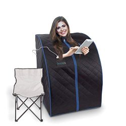 SereneLife Oversize Portable Infrared Home Spa | One Person Sauna | with Heating Foot Pad &  ...