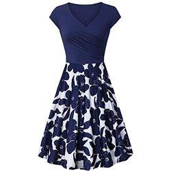 Dresses for Women Chaofanjiancai Summer Cross V- Neck Cap Sleeve Dress Vintage Elegant Flared A- ...