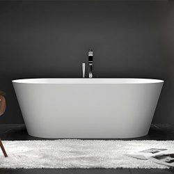 Dowell 077 60″ Luxury Contemorary Stone Resin FREE STANDING Bathtub White Modern