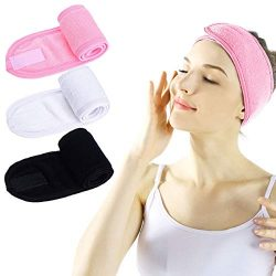 Facial Spa Headband – 3 Pcs Makeup Shower Bath Wrap Sport Headband Terry Cloth Adjustable  ...