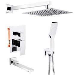 OLEAH Foldable Tub Spout Wall Mounted Shower System with Mixer Shower Faucet Combo Set Polished  ...