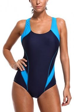 CharmLeaks Womens Pro One Piece Athletic Bathing Suit Racer Back Swimsuits L,Blue/Navy