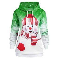 Dainzuy Women's Hoodie Sweatshirt Christmas Snowman Print Casual Pocket Drawstring Hoodie  ...