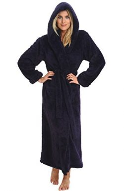 Alexander Del Rossa Women's Plush Fleece Robe with Hood, Long Warm Bathrobe, Large XL Purp ...