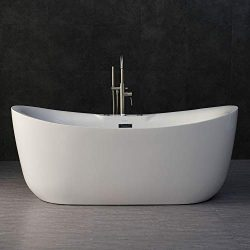 Woodbridge 71″ Whirlpool Water Jetted and Air Bubble Freestanding Bathtub with Chrome Over ...