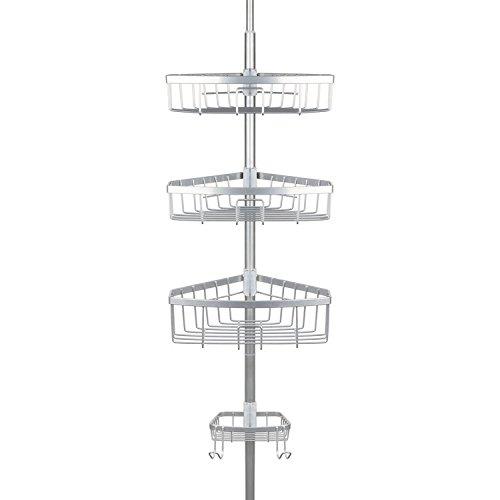 Richards Homewares E Steel Bathtub Shower Tension Corner Pole Caddy – Chrome-Stylish Design with ...