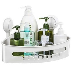 Corner Shower Caddy Suction Cup Plastic Shower Holder for Shampoo Soap, Removable Wall Mount Bat ...