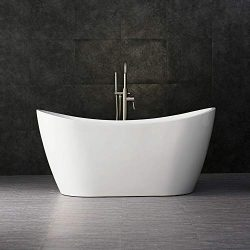 Woodbridge 59″ Acrylic Freestanding Bathtub Contemporary Soaking Tub with Chrome Overflow  ...
