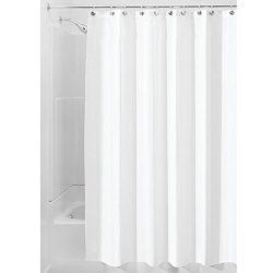 iDesign Fabric Shower Curtain, Modern Mildew-Resistant Bath Curtain Liner for Master Bathroom, K ...