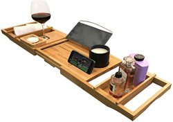 Luxury Bathtub Tray Caddy | Premium Bamboo Bath Tray for Tub | Stable and Convenient Bath Caddy  ...