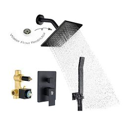 Bathroom Shower System,Wall Mounted Matte Black Shower Faucet Set Complete with 8″ Rain Sh ...