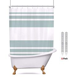Riyidecor Polyester Fabric Clawfoot Tub Shower Curtain 180×70 Inch White All Wrap Around De ...