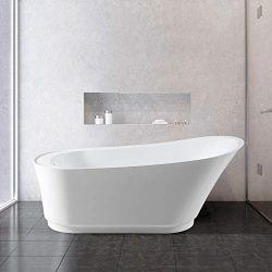 FerdY 59″ Luxury Freestanding Soaking Bathtub, with Sloped Lumbar Support, Glossy White, c ...