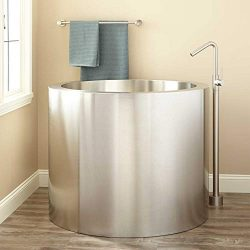 Signature Hardware 282265 Simone 43″ Brushed Stainless Steel Japanese Soaking Tub