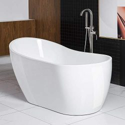 Woodbridge Acrylic Freestanding Bathtub Contemporary Soaking Tub with Brushed Nickel Overflow an ...