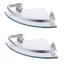 KES Aluminum Glass Shelf Bathroom Bath Corner Caddy Basket Storage Hanging Organizer with Extra  ...