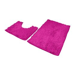 Shan-S Bathroom Rugs Luxury Chenille Mats 2 Piece Set,Anti-Slip Ultra Soft Plush Shower Rug +Toi ...