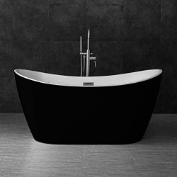 WOODBRIDGE BTA1816 59″ Acrylic Freestanding Bathtub Contemporary Soaking Tub with Brushed  ...