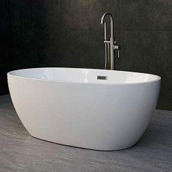 WOODBRIDGE Modern Acrylic Freestanding Bathtub Comfortable Soaking, Brushed Nickel Drain and Ove ...