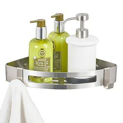 BESy Adhesive Bathroom Shower Corner Shelf Shower Corner Caddy with 2 Hooks, Drill Free with Glu ...