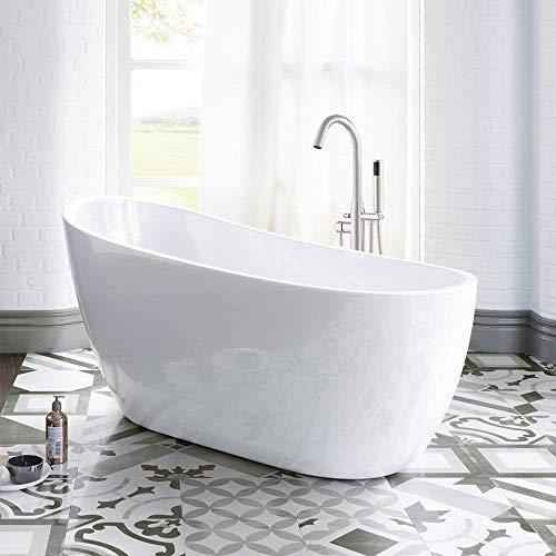 WOODBRIDGE 54″ Acrylic Freestanding Bathtub Contemporary Soaking Tub with Chrome Overflow  ...