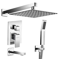 AUKTOPT Rainfall System with Tub Spout for Bathroom Wall Mounted Rain Mixer Combo Shower Faucet  ...