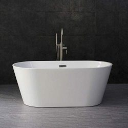 Woodbridge 59″ Acrylic Freestanding Bathtub Contemporary Soaking Tub with Chrome Overflow  ...