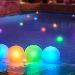 Set of 12 Mood Light Garden Deco Balls- Battery Operated 3″ Floating Color Changing LED Ba ...