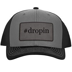 #Dropin – Hashtag Leather Grey Patch Engraved Trucker Hat GreySteel, One Size