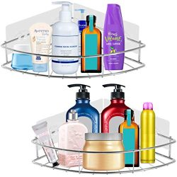 PENGKE Corner Shelf Organizer,No Drilling Needed Basket Holder,Wall Mounted Bathroom Shelf with  ...