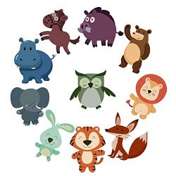 10 Set Non Slip Animal Stickers for Kids Bath Tub, Cute Decals Decoration for Bathroom, Fridge,  ...
