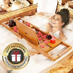 YM Lux Craft Bamboo Bathtub Caddy [Durable, Non-Slip], 1-2 Adults Expandable Bath Tray, Beautifu ...